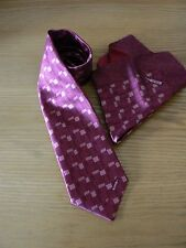 NEW: Zilli Wine/Blush Geo Patterned 7 Fold Silk Tie & Pocket Square Set (boxed)