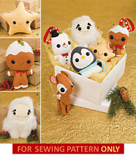 SEWING PATTERN! MAKE CHRISTMAS ORNAMENTS~STUFFED TOY! PLUSHIE~PENGUIN~REINDEER!