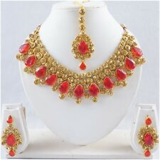 New Indian Fashion Necklace Pendant Earring Set Gold Tone Red CZ Bridal Jewelry