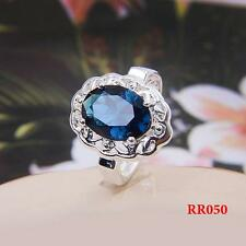 HOT 1PC LF Plated 925 Silver Hollow Big CZ Ring Sz.7
