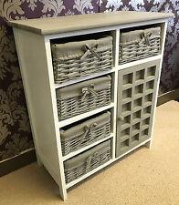 Gris Blanco pecho cajones armario de almacenamiento cestas de mimbre Armario Vintage Dormitorio