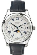 SEKONDA Blue Leather Strap Moon Phase Mens Watch 3504