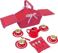 Childrens red 18 pieces metal Picnic Tea Set basket for kids role play kitchen