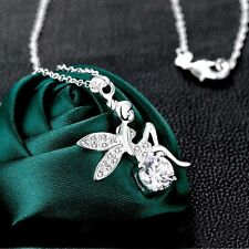 Love Cute Pendant Chains Tinkerbell Crystal Jewelry Wings Necklace Fairy Angel