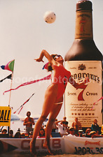 Vintage FOUND PHOTO Pro BEACH VOLLEYBALL GIRL Color FREE SHIPPING Whiskey 7211
