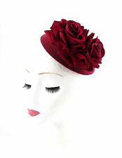 Deep Red Burgundy Rose Flower Pillbox Hat Fascinator 1950s Rockabilly Vtg 780