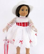 "Mary Poppins Inspired Outfit Fits 18"" American Girl Doll Dress Umbrella 4pc"