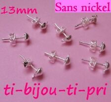 LOT 30 CLOUS + fermoirs BOUCLES D'OREILLES supports ANNEAU ARGENTES SANS NICKEL