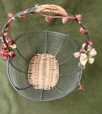 Rattan Woven Basket Metal Wire Handle Trimmed In Flowers & Ribbon Vintage PRETTY