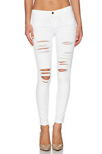 "FRAME DENIM ""LE SKINNY DE JEANNE"" SHREDDED DISTRESSED SKINNY JEANS WHITE SIZE 24"