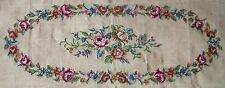 EP 3126 Rose Floral Piano Bench Seat Vintage Needlepoint Canvas