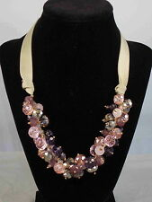 c.A.K.e. By Ali Khan Gold Pink Silver Purple Glass Bead Cluster Ribbon Necklace