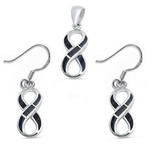 Black Onyx Infinity Symbol .925 Sterling Silver Earring & Pendant Set