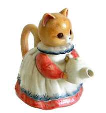 Takahashi Cat teapot Japan pink blue ceramic 70s 80s San Francisco