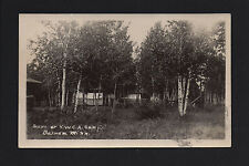 Barnum Minnesota MN 1924 RPPC Y W C A Camp Cabins in Birch Trees, YWCA Grounds