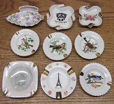 9 vtg petite Porcelain ASHTRAY lot Gold trim Hand painted Limoges Lefton & more