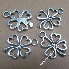 20x Retro Tibetan Silver Heart Clovers Pendant Charms Beads Accessories  PL089
