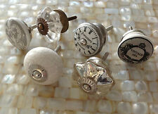 Eclectic lot/set 6 grey/crystal/clock/vintage antique furniture/drawer KNOBS