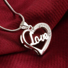 Women Fashion 925 Sterling Silver Heart Pendant Necklace Chain Jewelry Love Gift