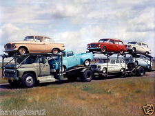1960s Studebaker Larks On Car Carrier Kodachrome 8 x 10  Photograph