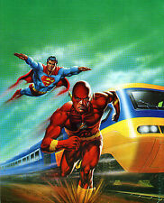 SUPERMAN & FLASH w BULLET TRAIN Pin Up PRINT DC British UK