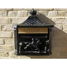 Vintage Style Wall Mounted Aluminium Post Box -  Letter Box Black