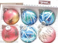 VINTAGE Beautiful Christmas Glass Hand Painted Ornaments West German 6
