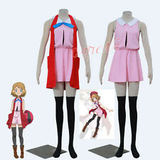 Cafiona Pocket Monsters Pokemon Serena Cosplay Costume Sleeveless Pink Dress Set