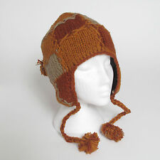 Hand Knitted Patchwork Winter Woollen Peruvian Style Earflap Hat UNISEX PEH8
