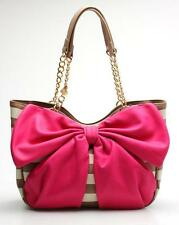 Betsey Johnson Brown PVC Stripe Bow Tails Satchel NEW