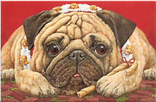 Poinsettia Pug Embossed Christmas Cards Box of 16 Free P&P