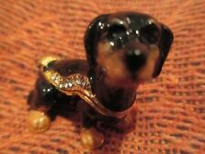 DOLLY ~ THE DOXIE PUP ~ JEWELED & ENAMEL TRINKET BOX ~ BOUTIQUE MINIATURE 61124
