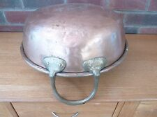 French Antique Copper Cooking Pot / Jam Pan Cast Brass Handles Weight 3kg