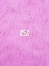FAUX FAKE FUR SOLID SHINY TINSEL LONG PILE FABRIC - Pink - SOLD BTY
