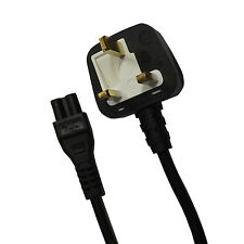 3 PIN MAINS C5 CLOVER LEAF POWER CABLE LAPTOPS WITH UK STANDARD 5A FUSED PLUG