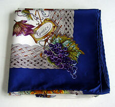 AUTH. VINTAGE GUCCI SIGNED WOMEN'S 100% SILK SCARF/HAND-ROLLED/GORGEOUS GRAPES!!