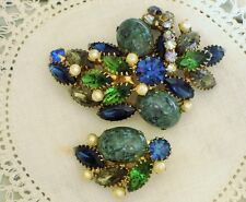 Vintage HATTIE CARNEGIE Blue Green Rhinestones Pearls CLUSTER BROOCH PIN  Plus