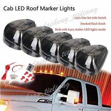 Smoked 5pcs 9 LEDs Cab Roof Running Marker Lights w/ Switch Truck SUV Off Road