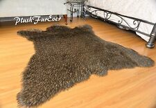 60 x 72 Brown Forrest Coyote Accent Faux Fur Area Rug Bearskin PlushFurEver