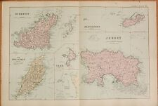 1891 LARGE VICTORIAN MAP - CHANNEL ISLANDS, ISLE OF MAN, 6 IMAGES