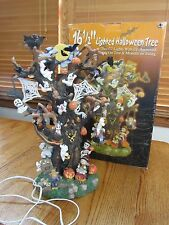 "HALLOWEEN HAUNTED TREE LIGHTS UP W/CHARACTERS ON SPRINGS-16 1/2"" HIGHIN ORG BOX!"