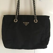PRADA Tessuto Nylon Shoulder Bag W Silver Chain Strap (Vintage & Authenticated)