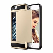 New Credit Card Slot Sliding Back Soft Case Cover iPhone 5 5s SE 6 6s 6 Plus