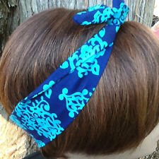Wire Headband Navy Turquoise Print Wired Dolly Bow Rockabilly Scarf  Rabbit Ears