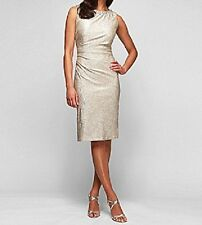 Alex Evenings Petite Dress Sz 16P Champagne Gold Foil Beaded Ruched Cocktail