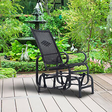 Outsunny Rattan Rocking Chair Outdoor Garden Wicker Armchair Patio Furniture BK