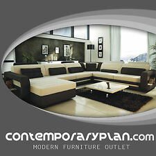 Ultra Modern Italian Leather Sectional Sofa Contemporary Design -Cream and Black