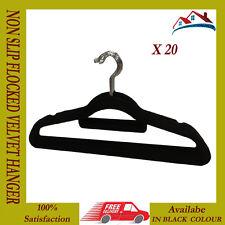 20 X BLACK NON SLIP HANGER VELVET FLOCKED COAT CLOTH TROUSER HANGING HANGERS NEW