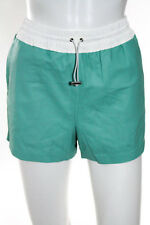 T by Alexander Wang Green Lambskin Leather Track Shorts Size 4 $600 New 108173