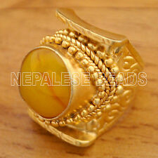 SS19 Nepalese Yellow Resin Sterling Silver Gold Plated Saddle Ring 7.5 Tibetan